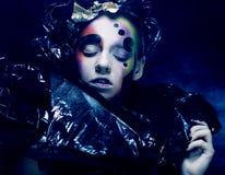 黑暗的美好的哥特式Princess.Halloween当事人 图库摄影