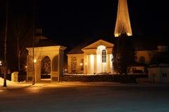黑暗的老石教会 库存图片