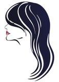 黑暗的表面头发长的妇女 库存照片