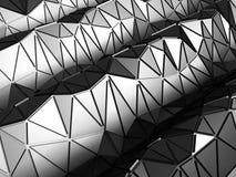 黑暗的金属银色三角样式工业背景 免版税库存照片