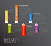 黑暗的水平的Infographic时间安排报告模板 库存照片