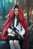 黑暗的幻想小红骑兜帽 免版税图库摄影