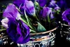 黑暗的紫色Lisianthus花 库存照片