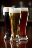 黑暗,红色和低度黄啤酒 库存图片