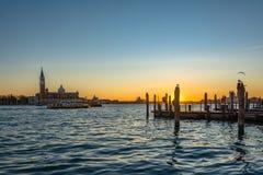 暮色小时;威尼斯海景- 11月17日 免版税库存图片