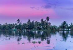 暮色日落在南印度 免版税库存照片