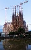 暮色时间的Sagrada Familia 巴塞罗那 免版税库存照片