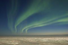 暮色极光的borealis 免版税库存照片