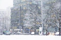 暴风雪在城市 免版税库存图片