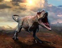 暴龙rex场面3D例证 免版税库存图片
