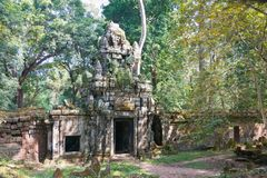 暹粒,柬埔寨-公寸10 2016年:Preah Palilay在吴哥城 库存图片