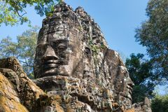 暹粒,柬埔寨- 2016年12月11日:北部门在吴哥城 A 免版税库存照片