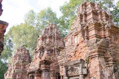 暹粒,柬埔寨- 2016年12月01日:在Roluos寺庙的Preah Ko A 免版税库存图片