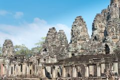 暹粒,柬埔寨- 2016年12月11日:Bayon寺庙在吴哥城 库存图片