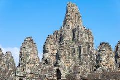 暹粒,柬埔寨- 2016年12月11日:Bayon寺庙在吴哥城 免版税图库摄影