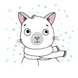 暹罗语猫的纵向 冬天 图库摄影