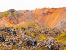 黑曜石片断在彩虹山的 库存图片