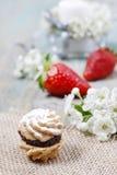 曲奇饼充满草莓酱 免版税库存照片