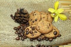 曲奇饼和咖啡豆 免版税库存图片