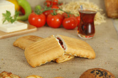 曲奇饼和茶早餐  库存照片