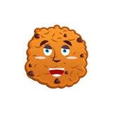 曲奇饼愉快的Emoji 快活饼干的情感 查出的食物 向量例证