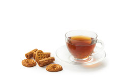 曲奇饼托起热茶 免版税图库摄影