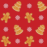 曲奇饼无缝姜饼的模式 免版税库存图片