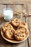 曲奇饼用牛奶和圣诞节星 图库摄影