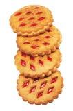 曲奇饼用红色果子在白色背景阻塞 库存照片