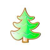 以曲奇饼的形式圣诞树绿色在白色背景 免版税库存图片