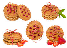 曲奇饼的收集在空白背景的 图库摄影