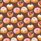 曲奇饼结块鲜美快餐可口巧克力自创酥皮点心饼干甜点心面包店食物无缝的样式 免版税图库摄影