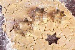 曲奇饼面团星形形状 库存照片