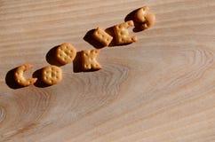 曲奇饼 可食的信件 库存图片