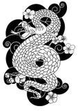 曲折前进与花和日本云彩纹身花刺设计传染媒介 图库摄影