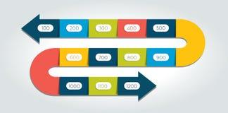 曲折前进infographic的箭头,模板,图,图,时间安排 库存图片