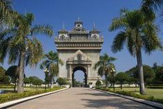 曲拱亚洲老挝patuxai万象视图 免版税图库摄影