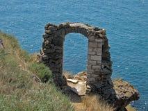 曲拱保加利亚kaliakra石头 库存图片