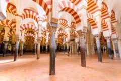 曲拱和在Mezquita (Grea里面的难以置信的建筑学 免版税库存照片