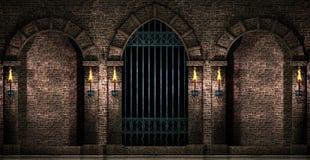 曲拱和铁门 库存图片