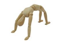 曲拱回到chakrasana体操运动员轮子瑜伽 免版税库存照片