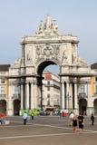 曲拱奥古斯塔里斯本宫殿rua正方形 免版税库存照片