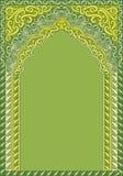 曲拱式印地安绿色装饰品,文本的模板 免版税库存照片