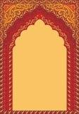 曲拱式印度红装饰品,文本的模板 图库摄影