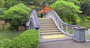 曲拱形状石头桥梁在庭院里 免版税库存图片