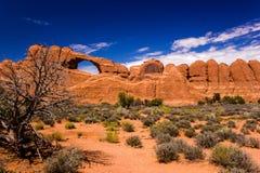 曲拱成拱形国家公园地平线犹他 库存照片