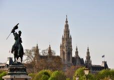曲拱查尔斯公爵大厅雕象城镇维也纳 免版税库存图片