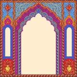 以曲拱的形式,背景装饰了东方人被仿造的图象 图库摄影