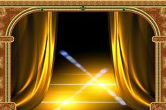 曲拱窗帘光 库存例证