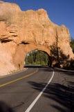 曲拱红色岩石隧道垂直 图库摄影